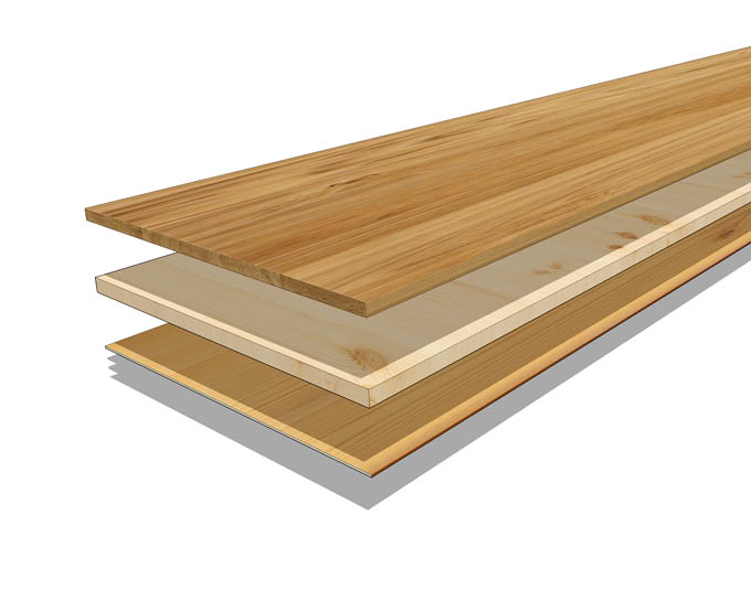 Schichtaufbau vom 3-Schicht-Parkett | Produkte Böden | Stuke Holz