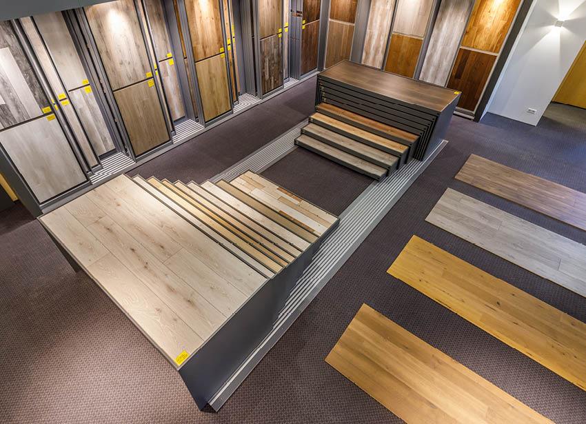 Draufsicht Bodenausstellung | Produkte Böden | Stuke Holz